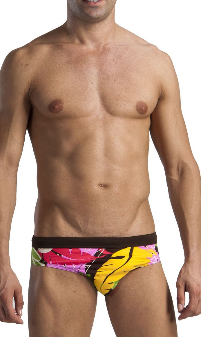 Men's Swimwear Floral Low Rise Brief Trunks Flowered 1114s2 Brown